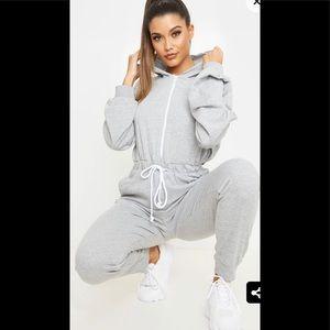PLT Grey Long sleeves Hooded Sweat Jumpsuit